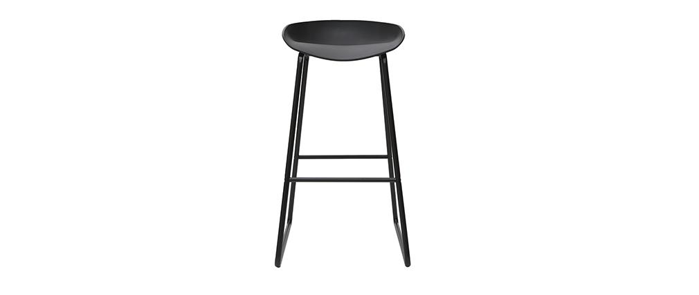 Tabourets de bar design noirs avec pieds en métal (lot de 2) PEBBLE