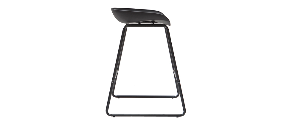 Tabourets de bar design noirs H65 cm (lot de 2) PEBBLE