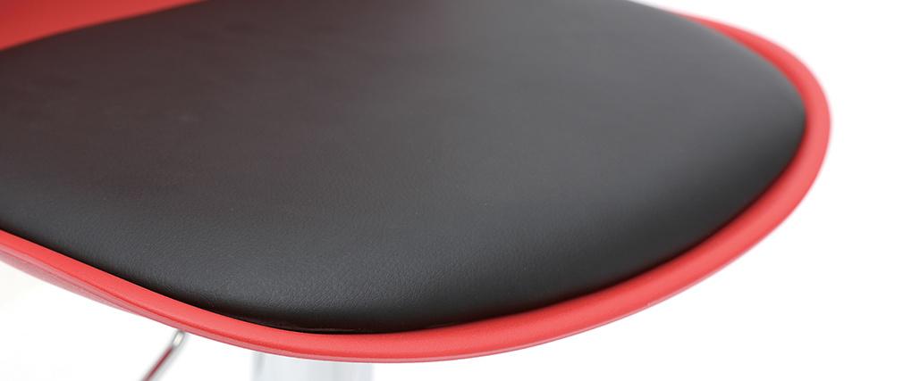 Tabourets de bar design rouge et noir (lot de 2) STEEVY
