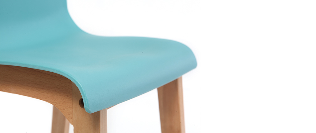 Tabourets de bar design turquoise et bois 65 cm (lot de 2) NEW SURF