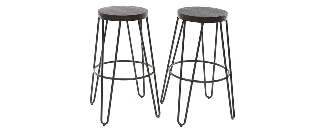 Tabourets de bar empilables en métal noir et en bois noir H75 cm (lot de 2) IGLA