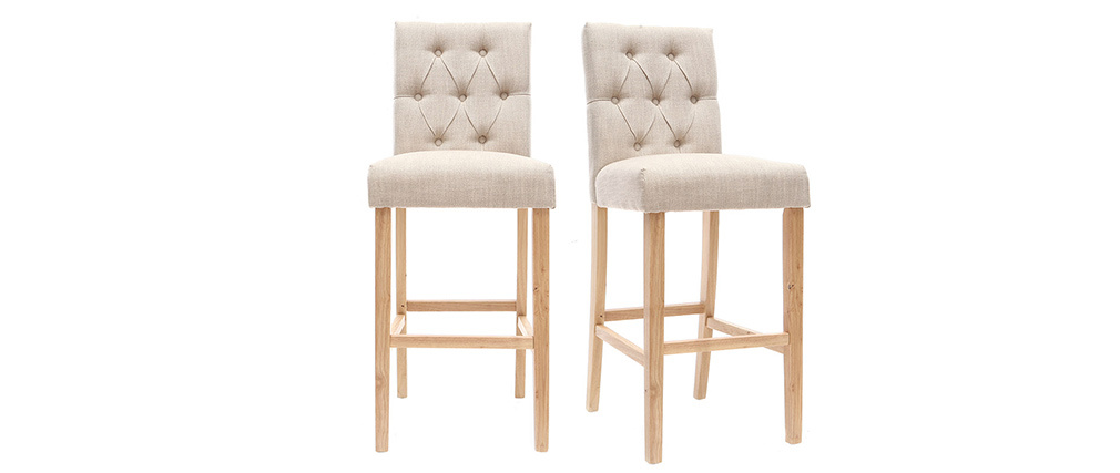 Tabourets de bar en tissu naturel H75 cm (lot de 2) RIVOLI
