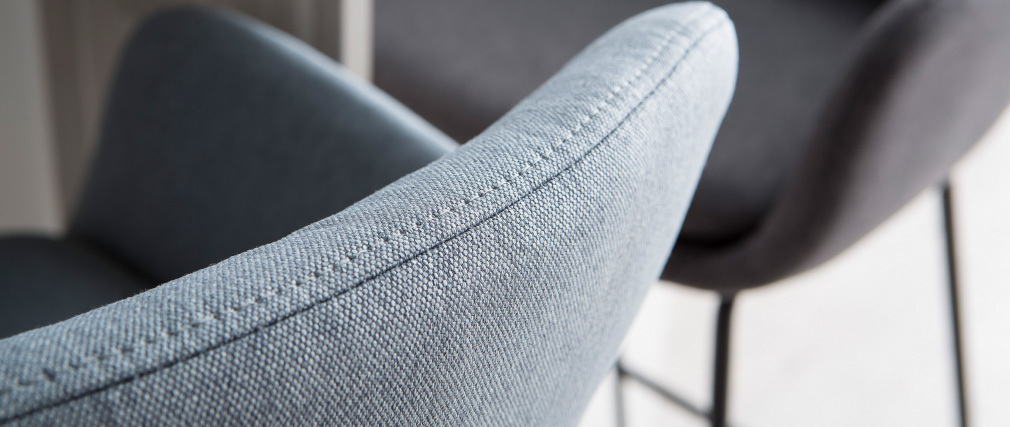 Tabourets de bar tissu gris bleu H75 cm (lot de 2) AMICA