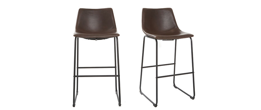 Tabourets de bar vintage marron 73 cm (lot de 2) NEW ROCK