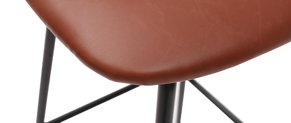 Tabourets de bar vintage marron clair avec pieds métal 75 cm (lot de 2) LAB