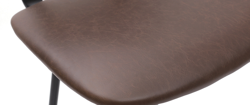 Tabourets de bar vintage marron foncé avec pieds métal 75 cm (lot de 2) LAB