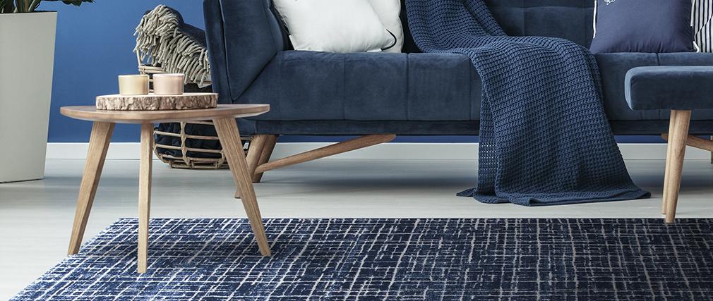 Tapis bleu à motif graphique 200 x 290 cm SAPHIR
