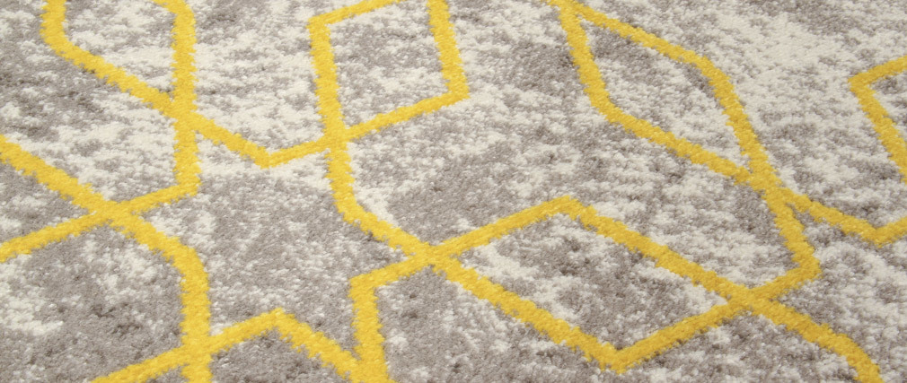 Tapis écru à motifs jaune 160 x 230 cm SOHO