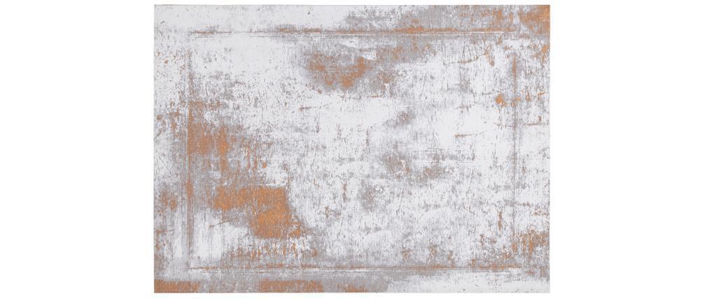 Tapis effet usé jaune or et ivoire avec motif tissé 160 x 230 cm - ASTRA