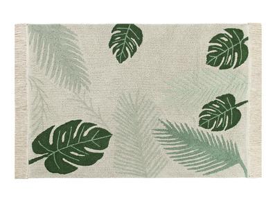 Tapis feuilles vert et naturel 140x200cm JUNGLE