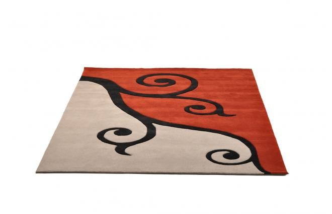 tapis moderne rouge et gris cl matite zoom. Black Bedroom Furniture Sets. Home Design Ideas