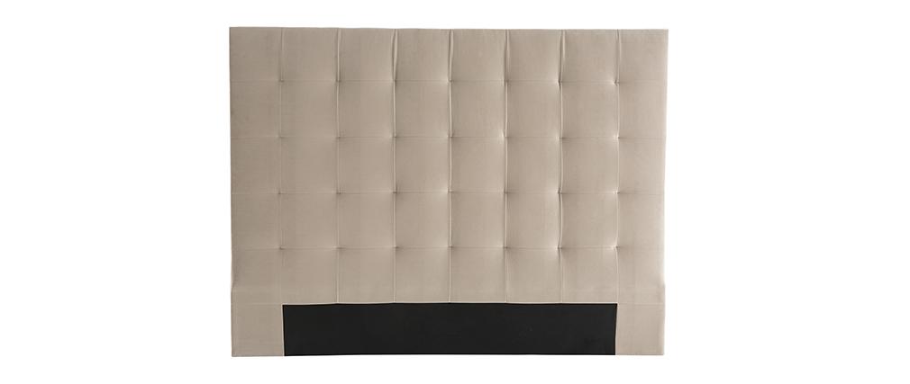 Tête de lit capitonnée velours taupe 160 cm HALCIONA