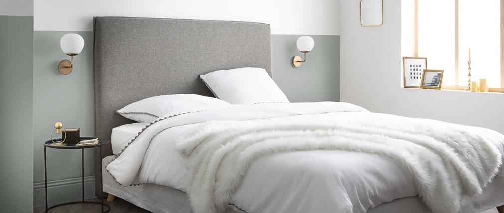 Tête de lit design en tissu gris clair 156 cm ATHENA